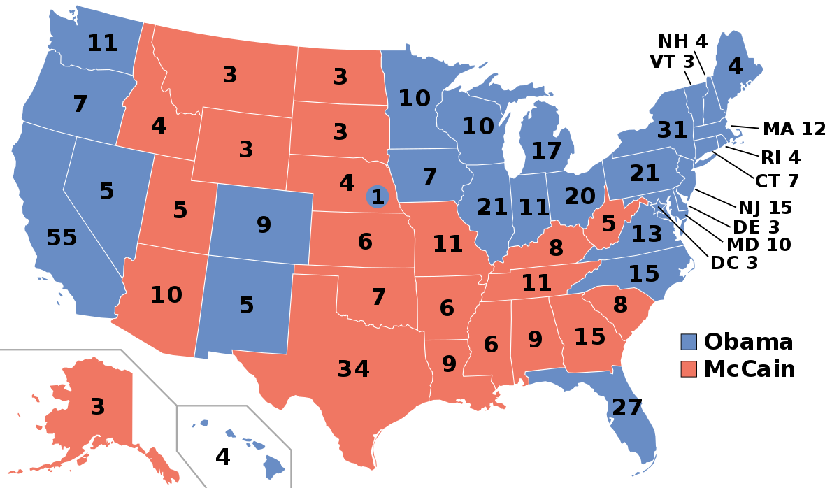This map shows the states that Barack Obama and John McCain each won. Red= the states that McCain won and blue= the states that Obama won.