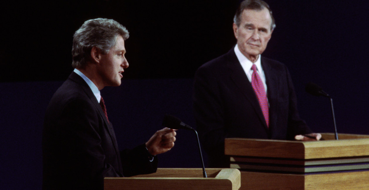 Bush & Clinton at the First Debate of the General Campaign