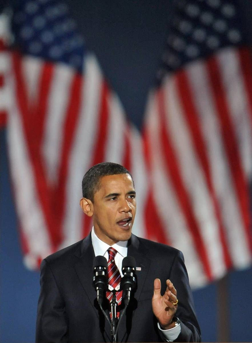 Barack Obama delivers his acceptance speech in 2008.