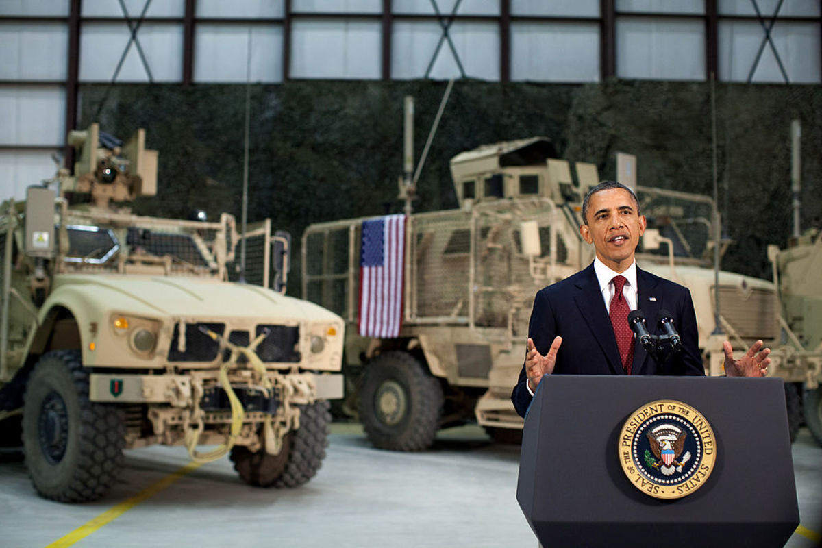 2012 President Barack Obama addresses the people of the U.S. from Afghanistan.