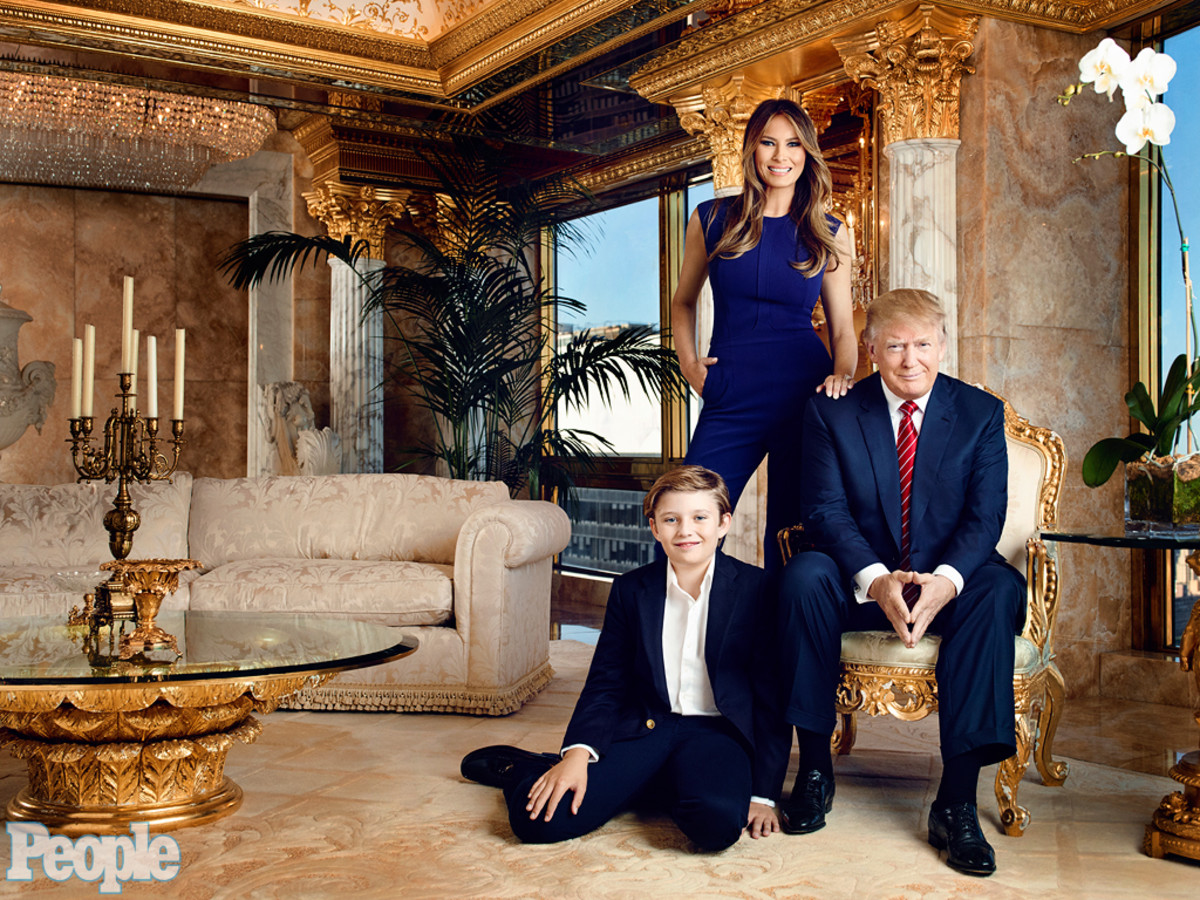 Donald Trump with wife Melania and son Barron.