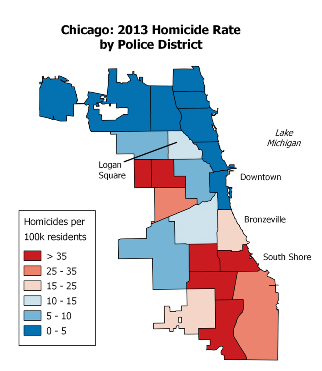 2013 Chicago Homicide Map by District