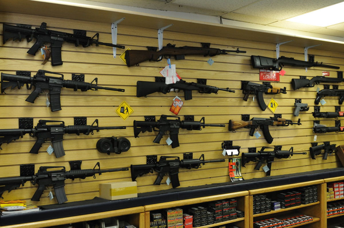 Inside a firearms store.