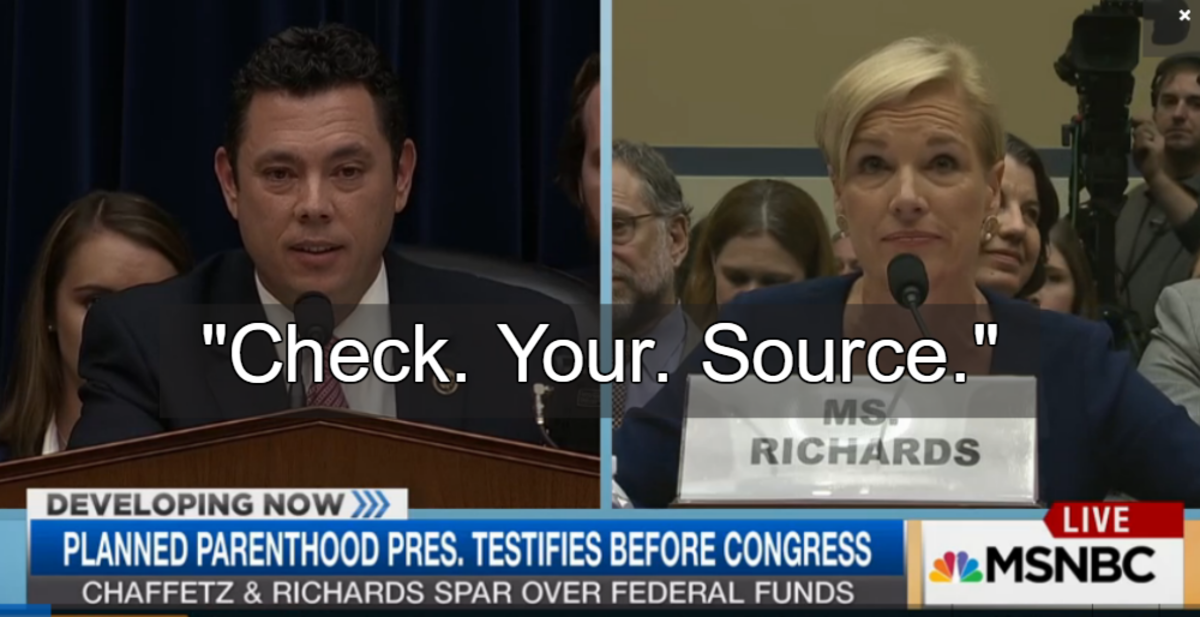 Rep. Jason Chaffetz uses false information in congressional hearing.