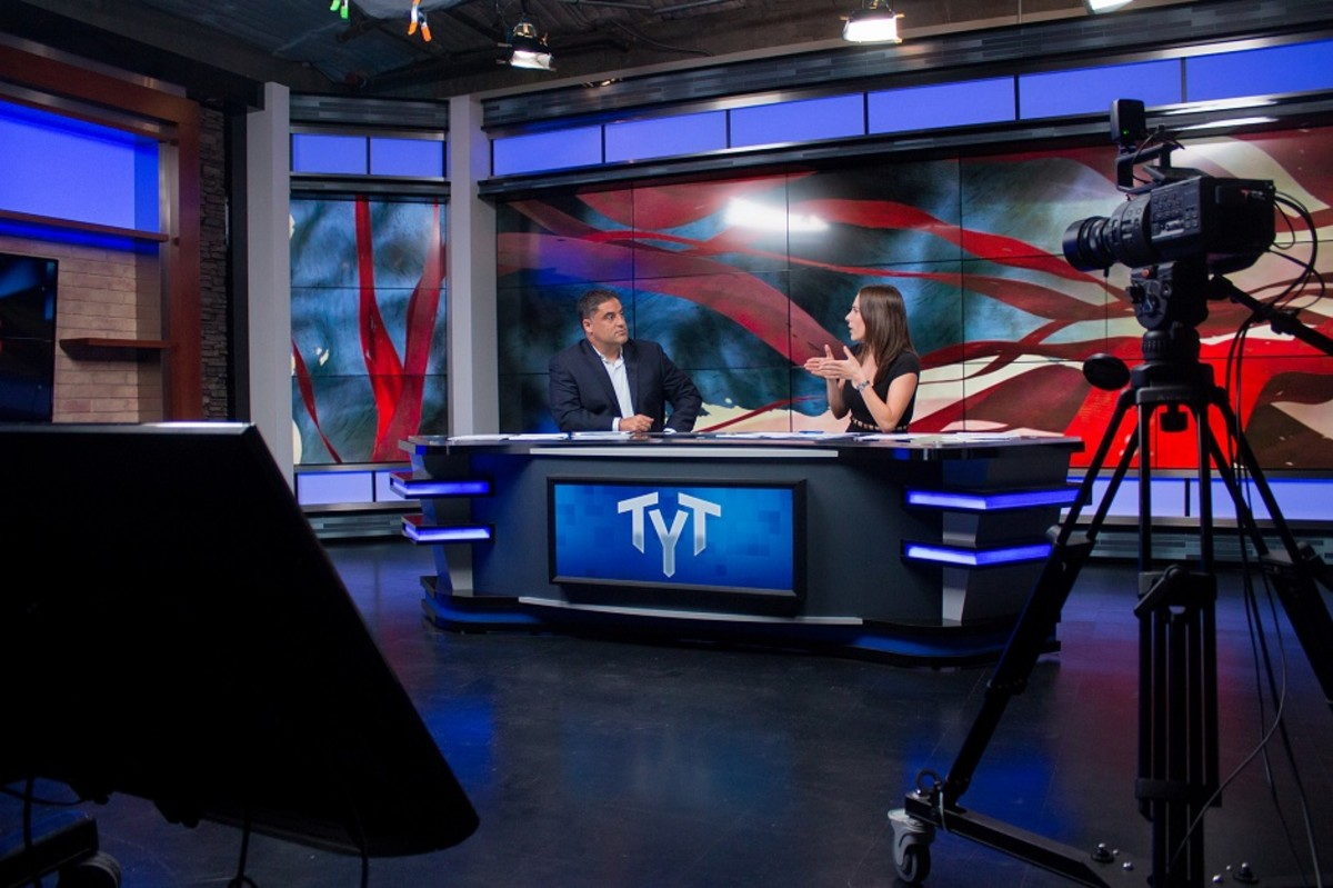 Cenk Uygur and Ana Kasparian on the set of 'The Young Turks'