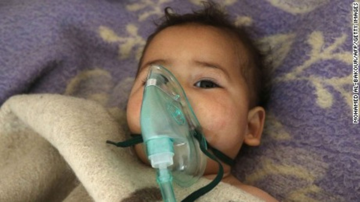 Photo of Syrian victim of gas attack which US says was committed by Assad government/