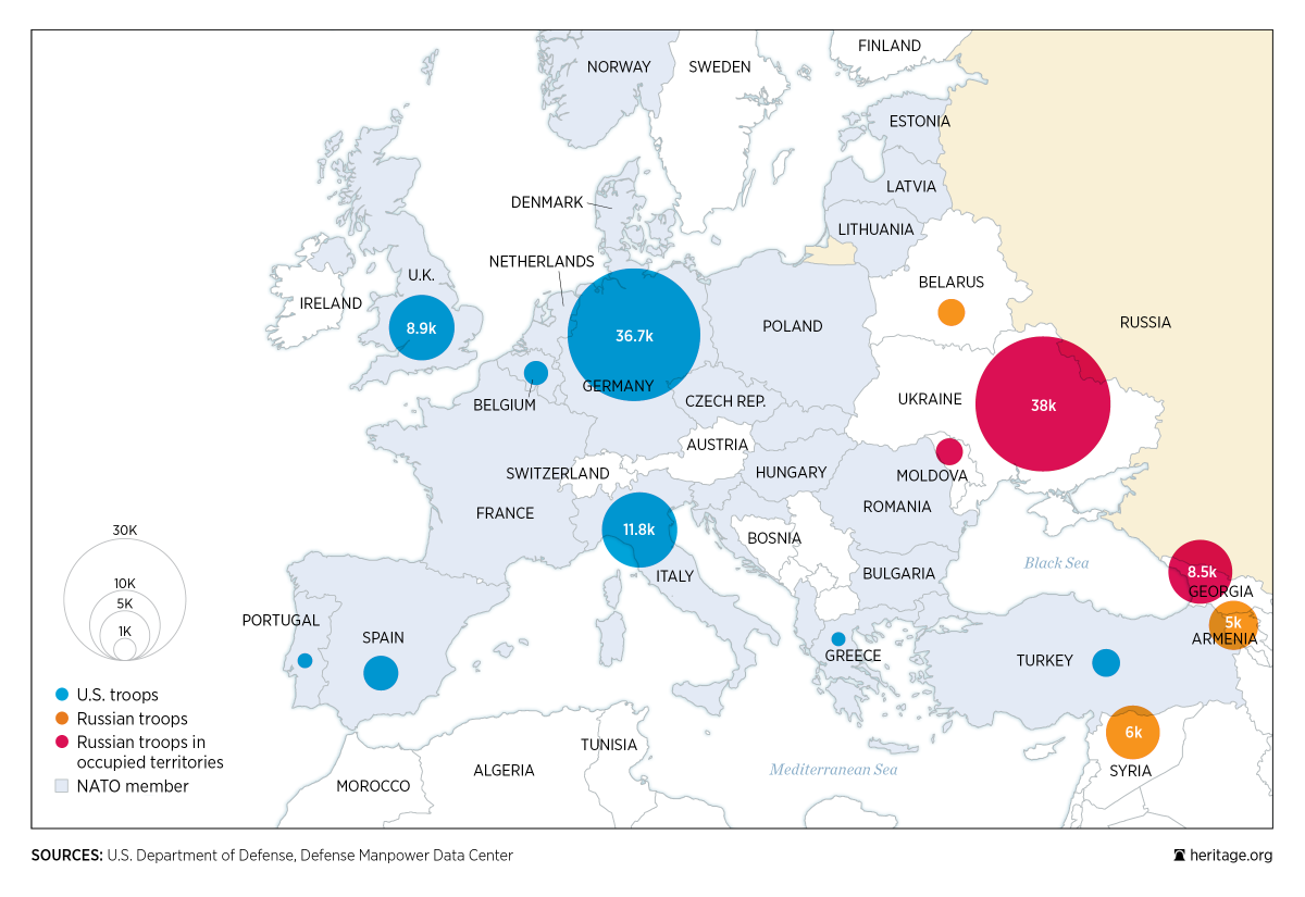 Map of NATO Members in Europe, with US troop presence in blue.