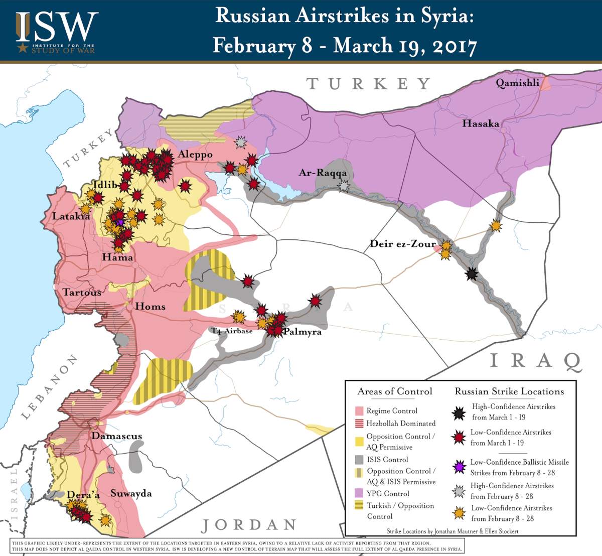 Map showing location of Russian airstrikes earlier this year.
