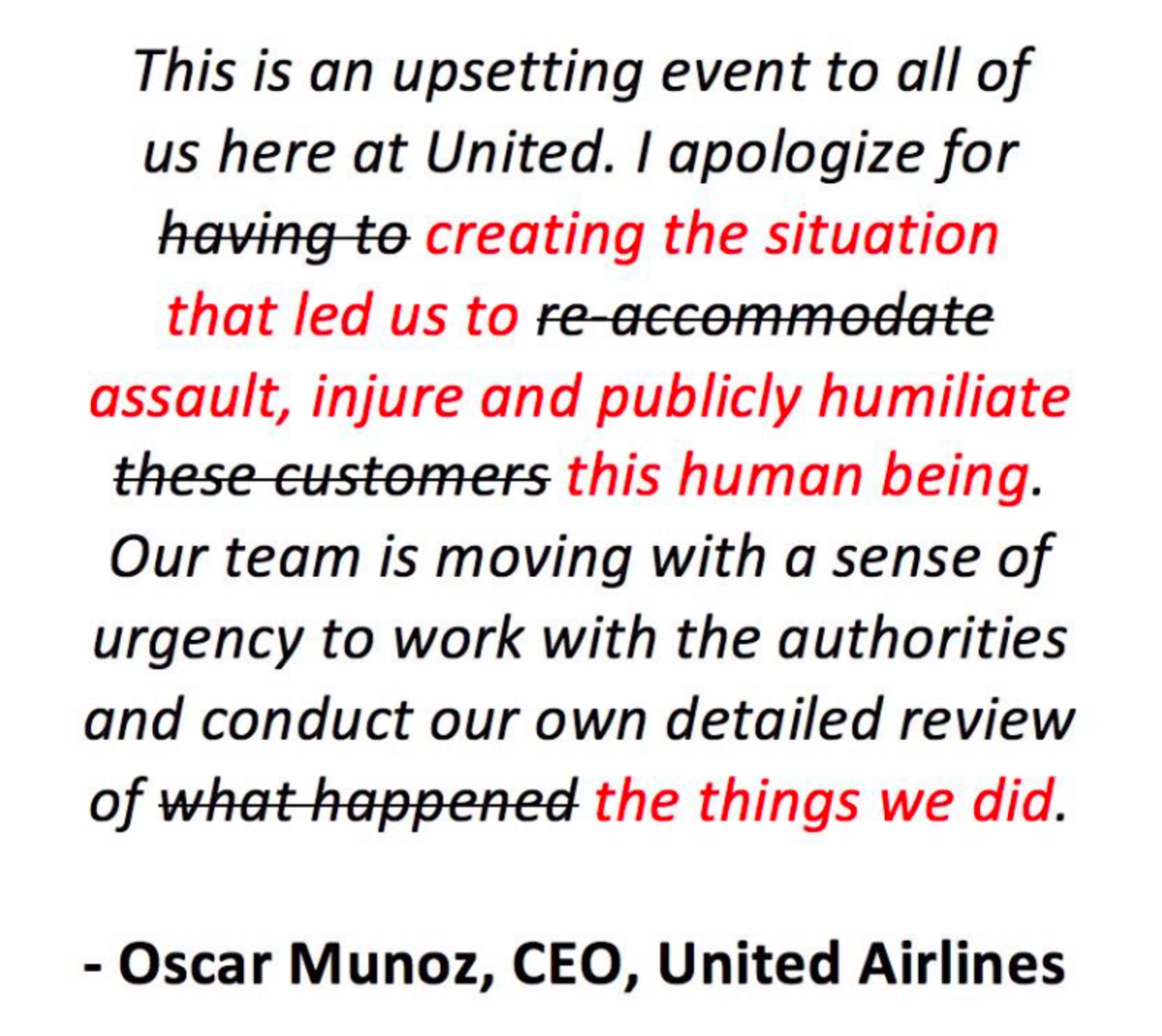 someone takes the liberty to fix United Airline's apology