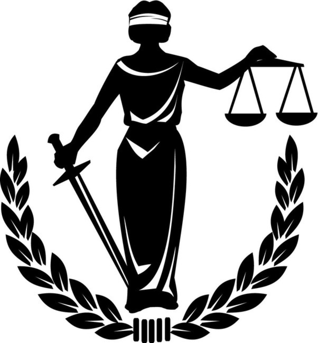 The symbol of justice: a blind person holding the scales of balance and the sword to provide equal justice.