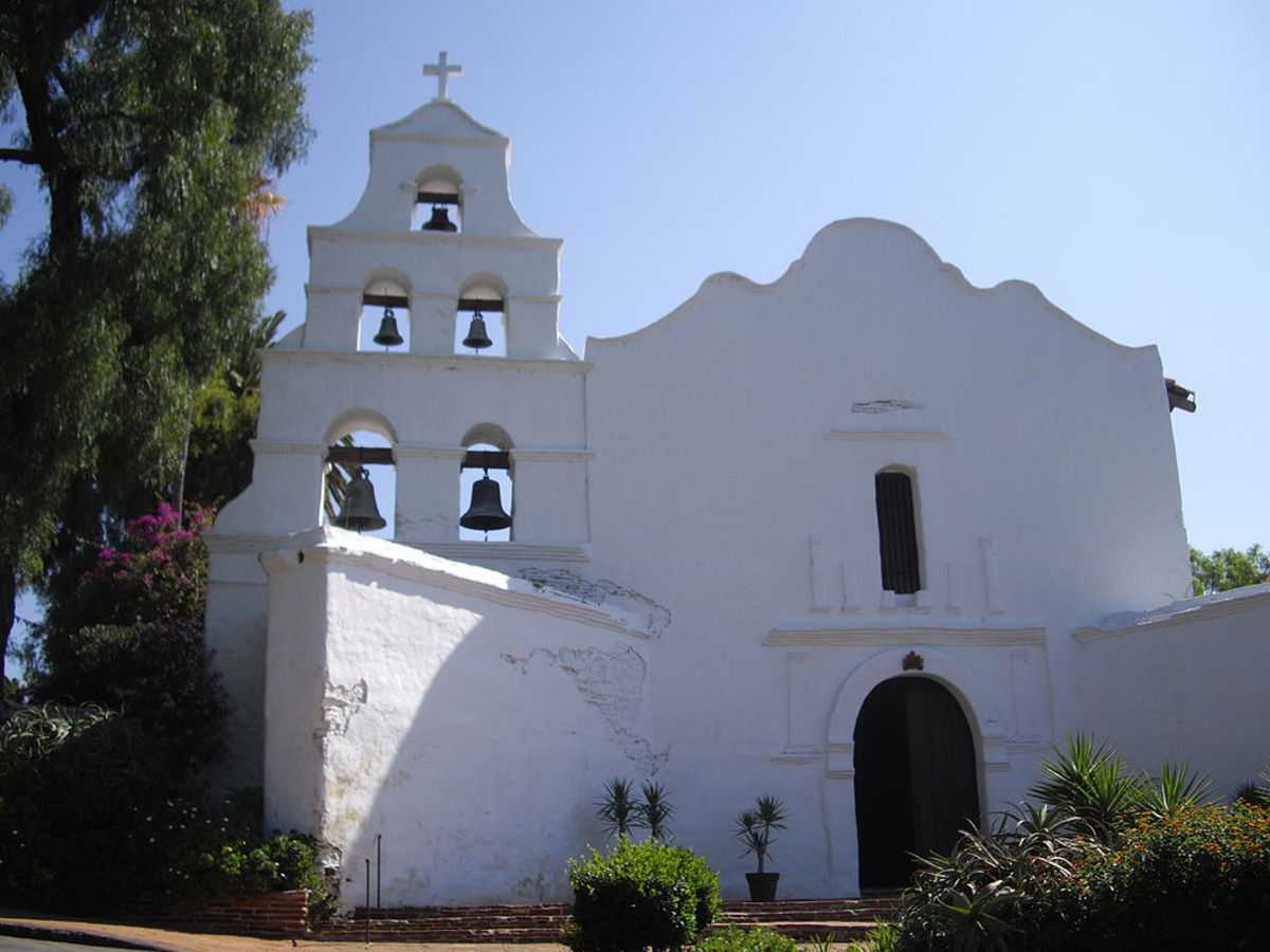 Spanish mission near San Diego, built in the 1700s