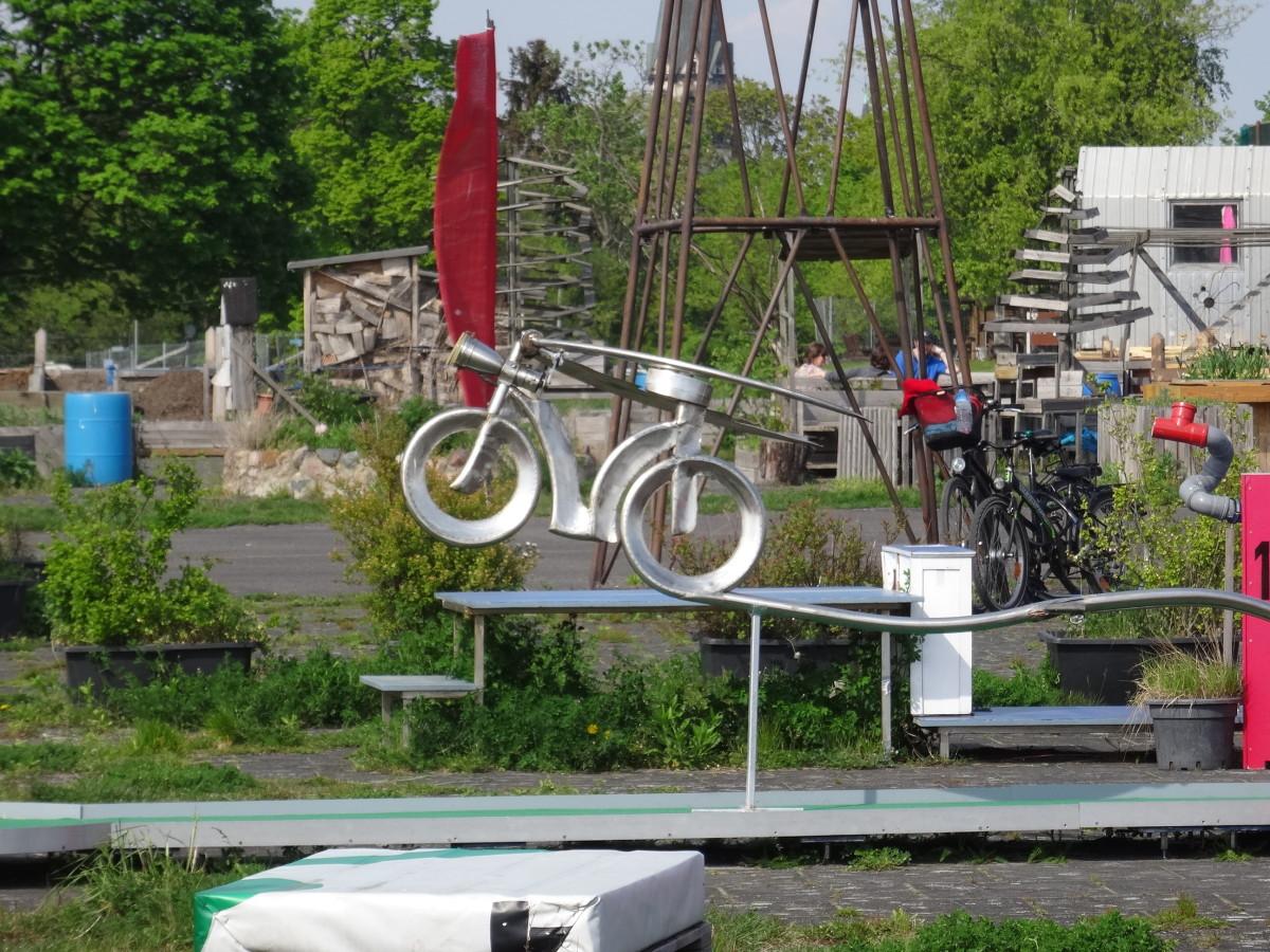 Artwork for Entertainment. There are bikes everywhere on the Tempelhofer Feld.