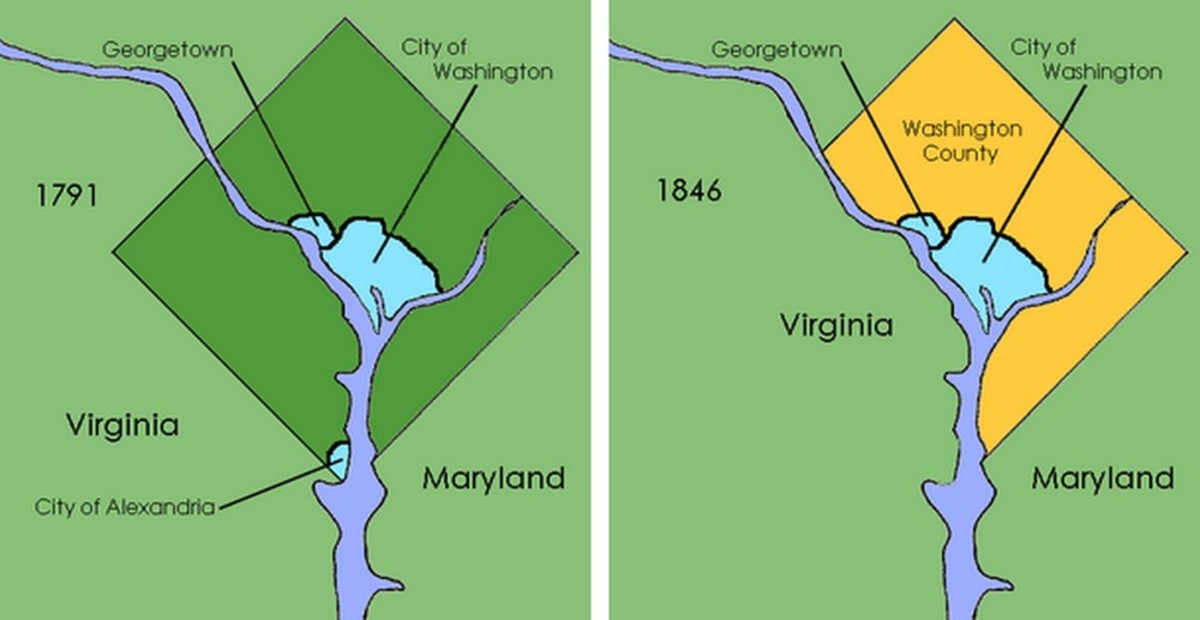 Before and After Maryland's contribution to the District of Columbia was returned. Imagine! Politicians once actually managed to Downsize DC!