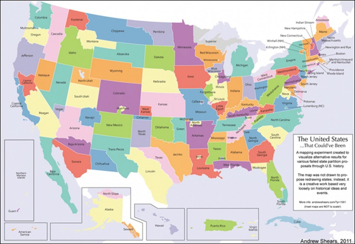 "Mansfield University geography professor Andrew Shears created this ""alternative history"" map in 2011 showing how the USA would look if all of history's proposed states had been accepted."