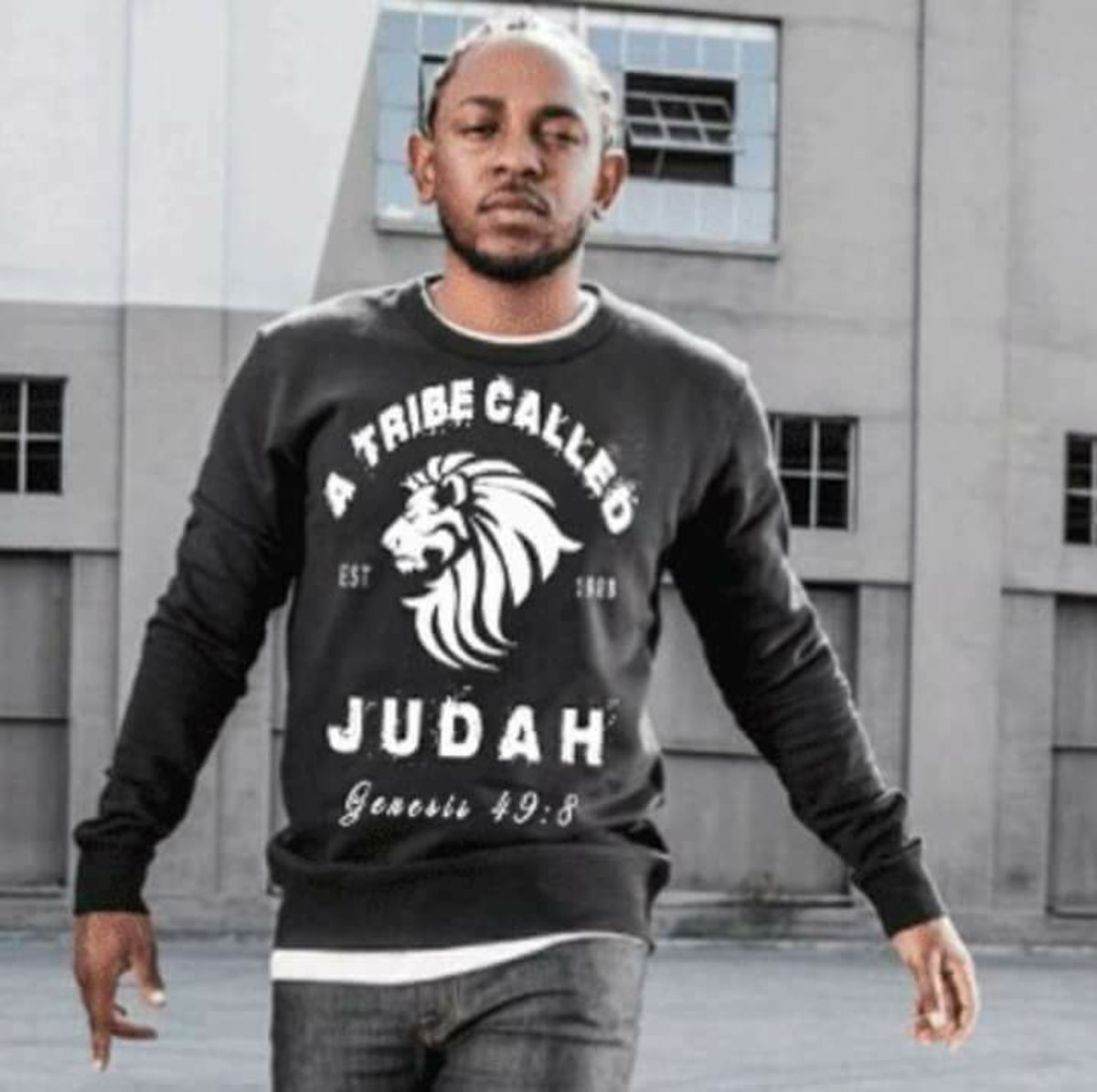 Rapper Kendrick Lamar wearing a shirt that represents his newfound faith as a Hebrew Israelite.