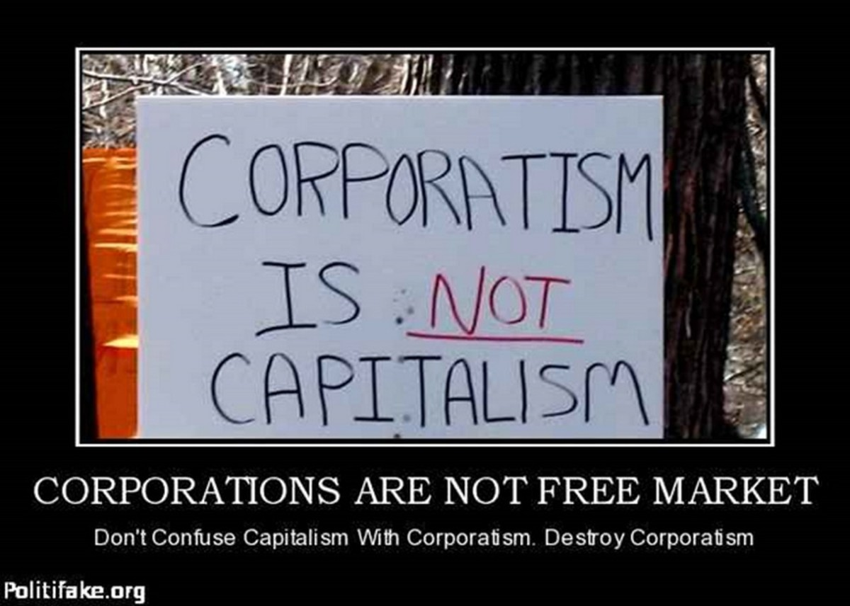 Corporatism is coercion; free market capitalism is voluntary