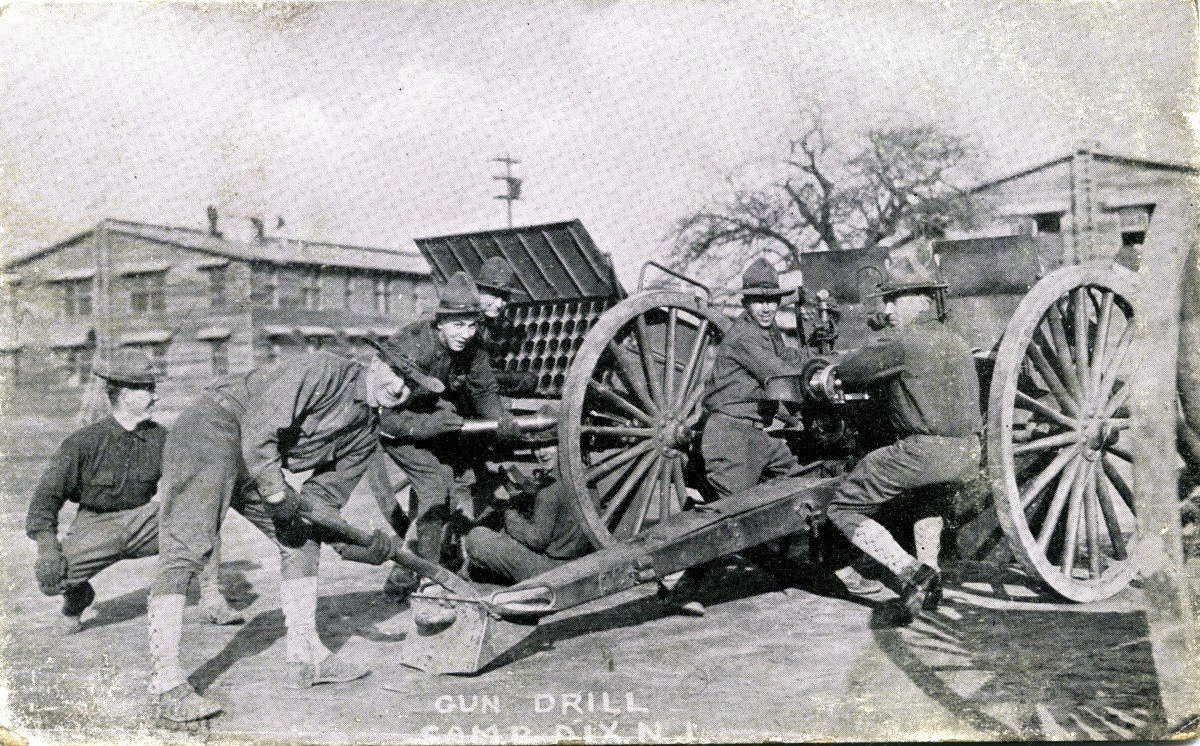 Camp Dix, New Jersey Gun Drill WWI