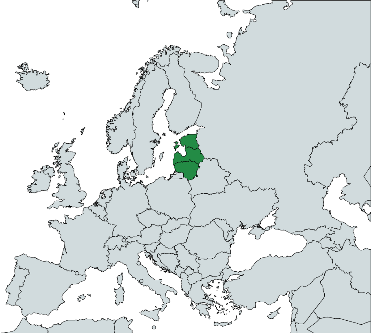 Map of Europe with the Baltic states marked green