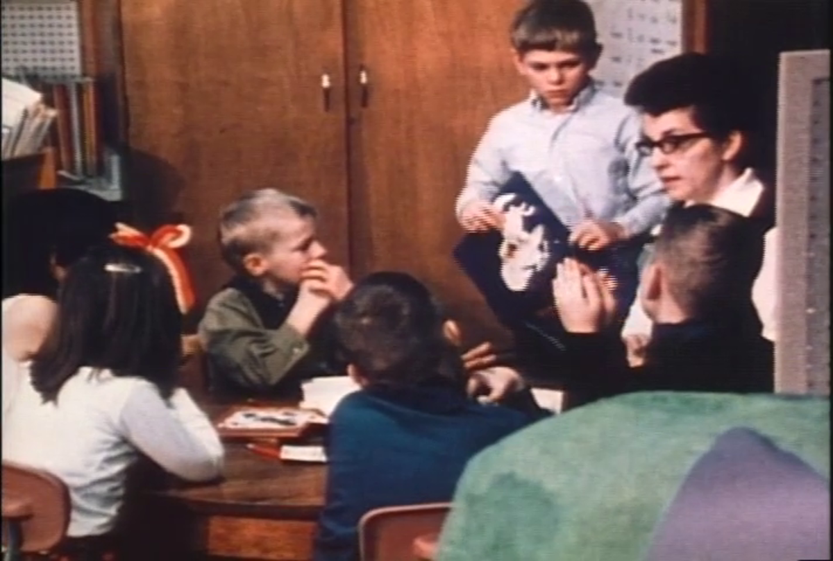 Elliot with her class in the 1970 documentary Eye of the Storm