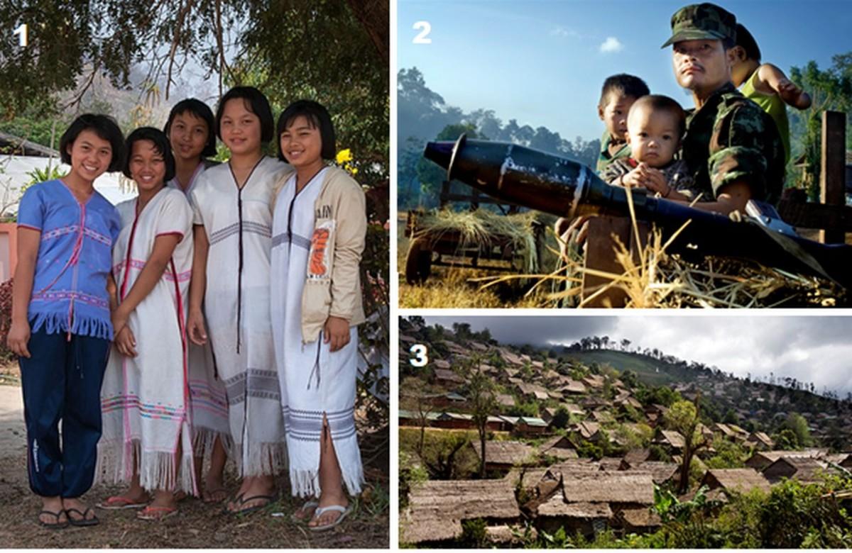 Karen People Today: 1. Non-state Karen schoolgirls; 2. Karen State defender; 3. Thai refugee camp for 150,000 displaced Burmese Karen people.