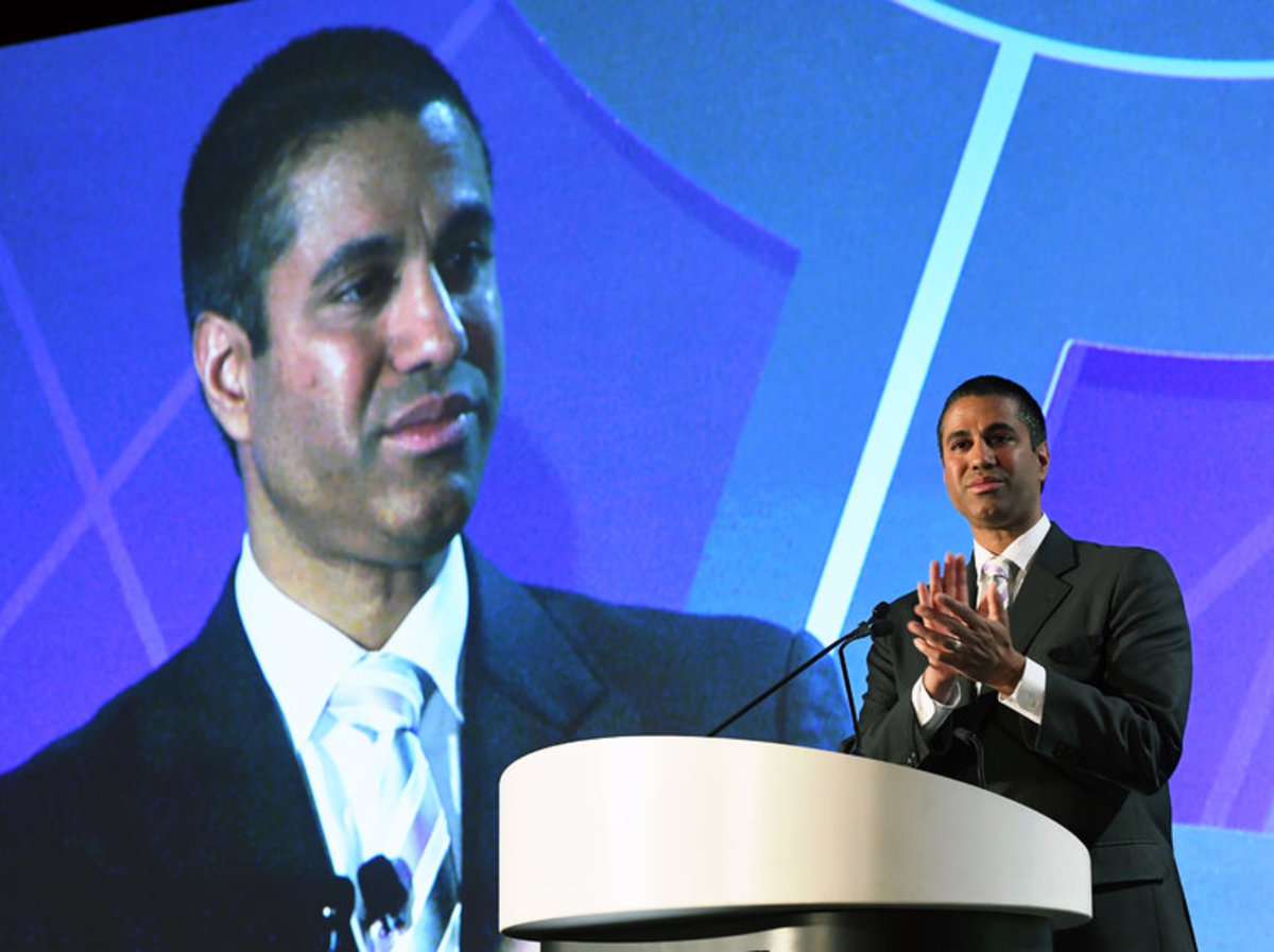 The FCC chairman, Ajit Pai, speaking on the issue  in 2017.