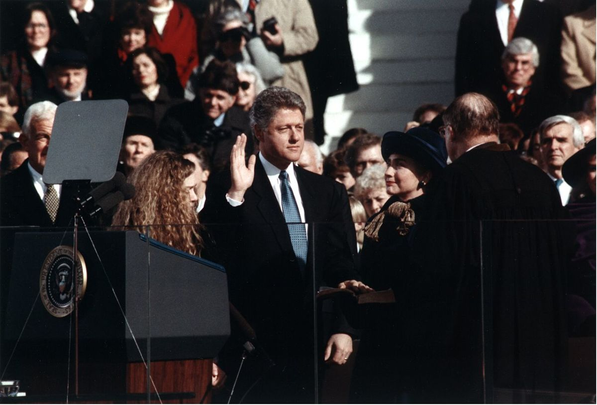 Bill Clinton takes the oath of office for the Presidency of the United States in 1993.