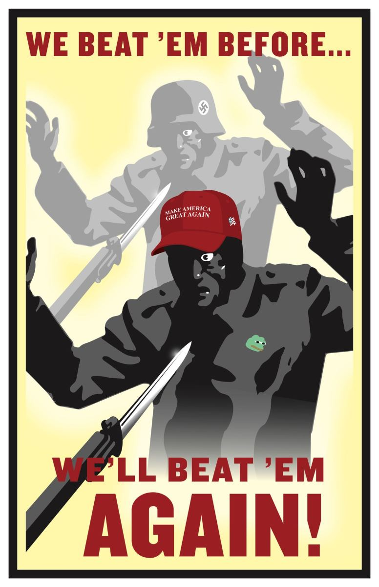 Antifa poster equating all Trump supporters with World War II Nazis.