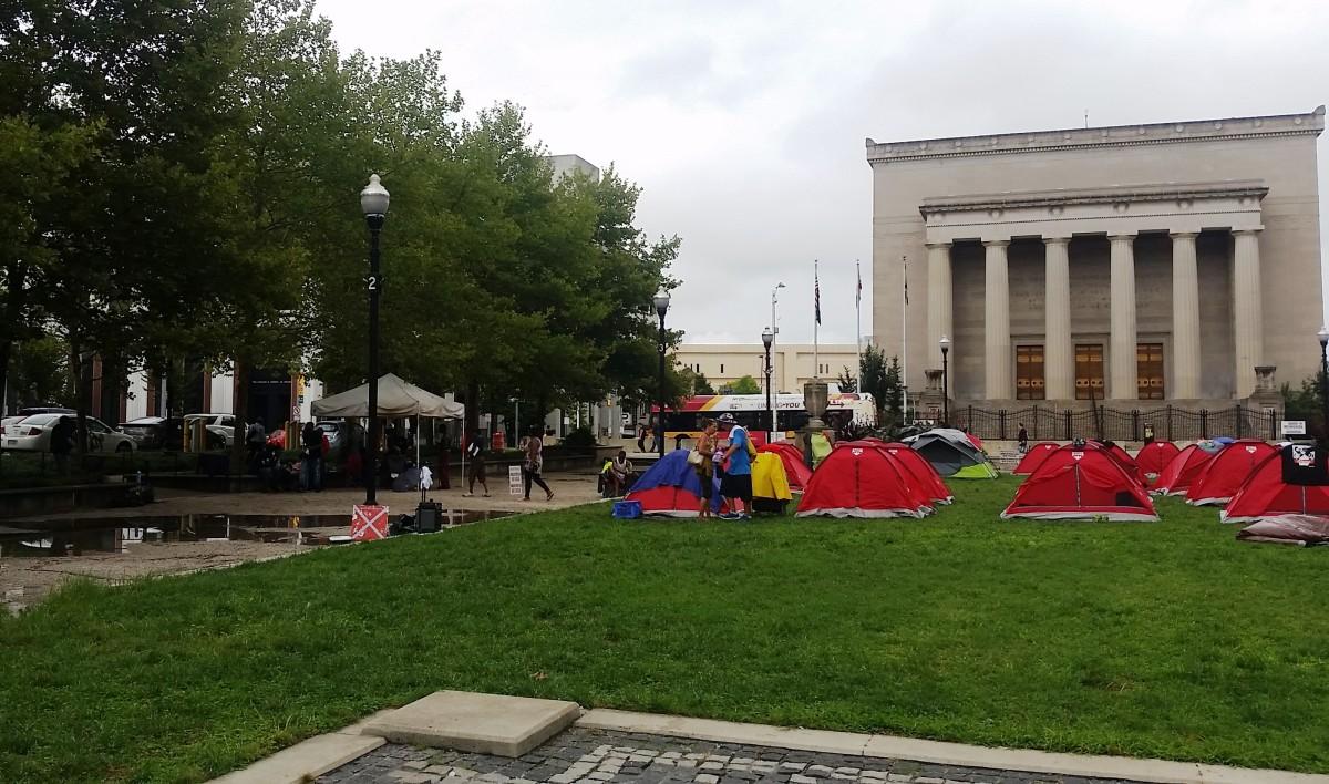 The tent city near city hall