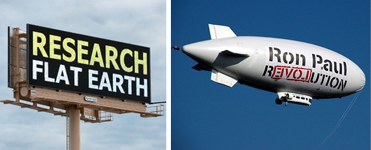 Baloney vs. Balloony: C'mon, Insula Qui, how many Flat Earthers have had their own flying billboard?
