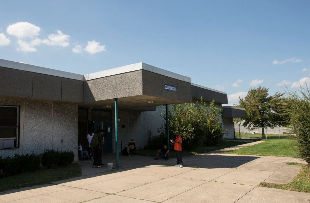 A view of the entrance to the school building housing the community of Tent City West