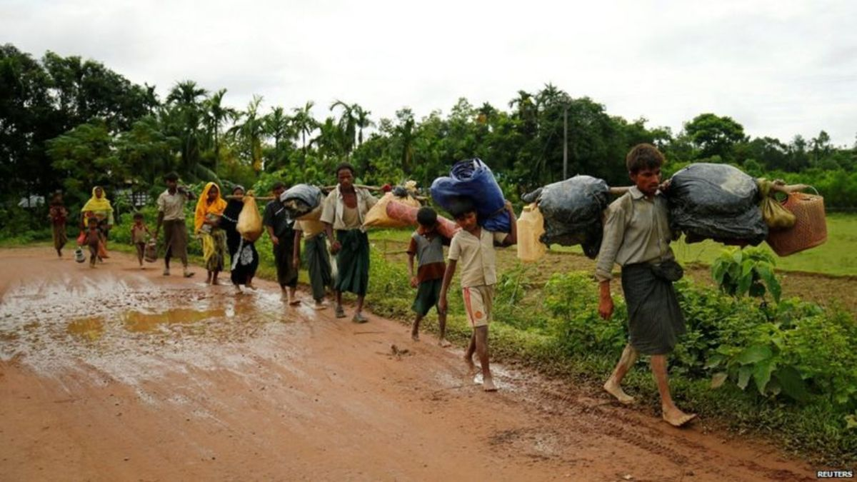 Rohingyas fleeing their homes in search of refuge