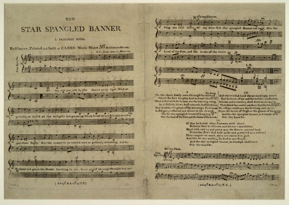 Vintage copy of the Star-Spangled Banner sheet music.