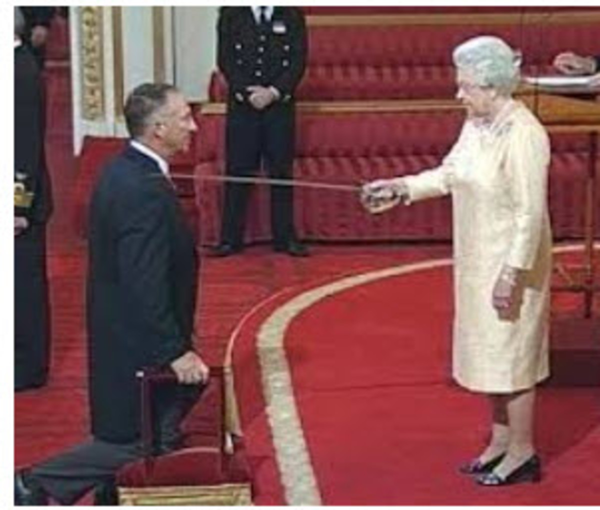 In the context of a knighting process, kneeling is generally seen as a sign of respect.