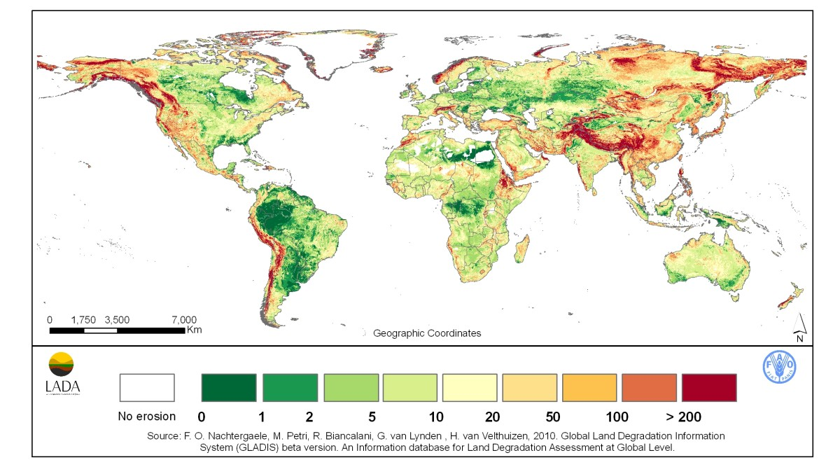 Global Land Degradation due to erosion