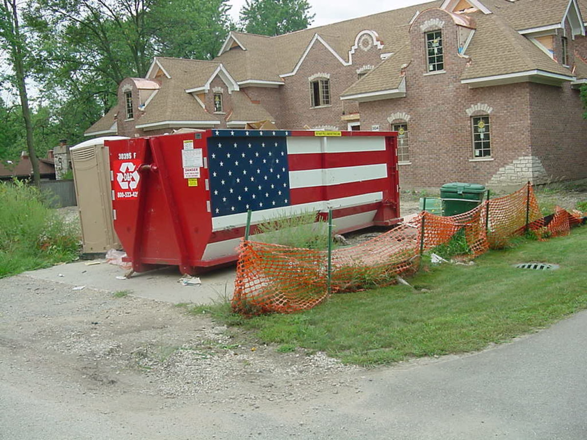 Our flag on a dumpster? Is this patriotic???