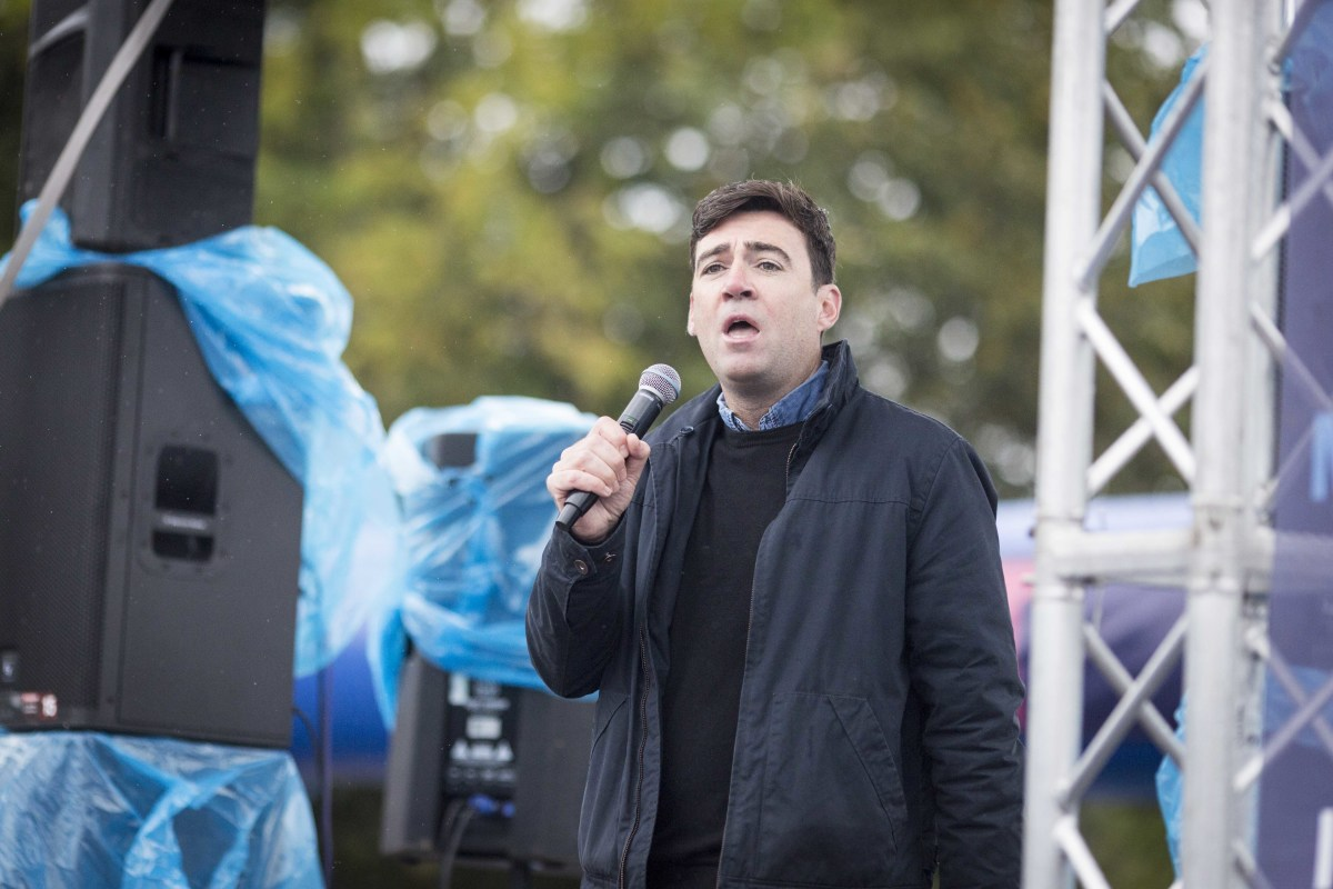 Greater Manchester Mayor Andy Burnham condemned the banner