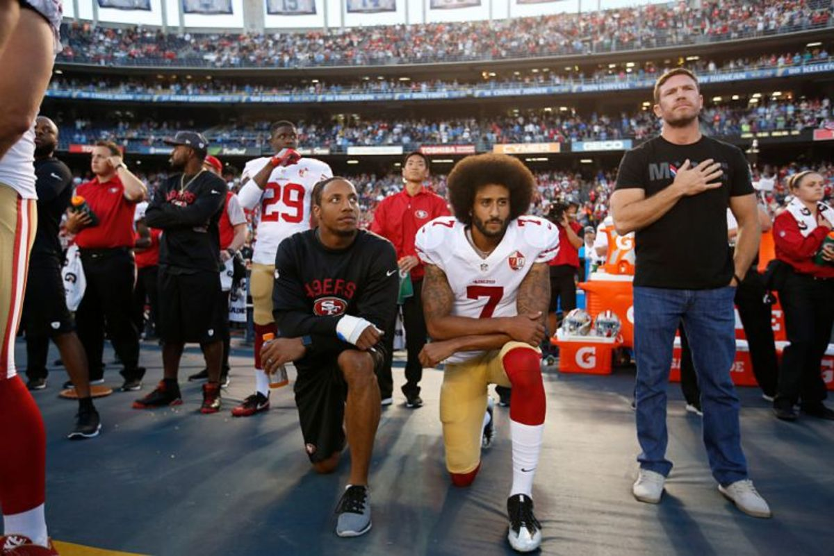 Nate Boyer and Colin Kaepernick showing respect in their own ways.