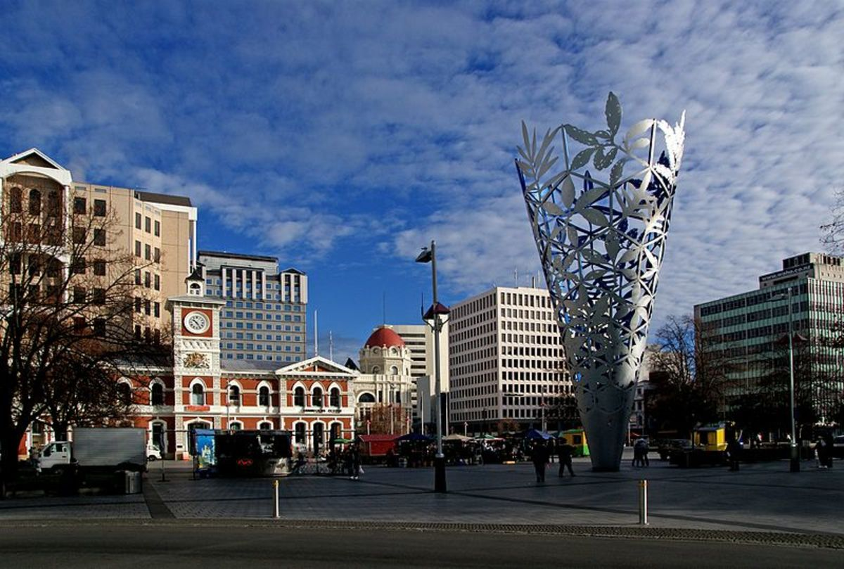 The Square of the Christchurch, the largest city in the South Island of New Zealand