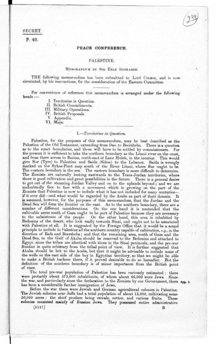 British Memorandum on Palestine 1919