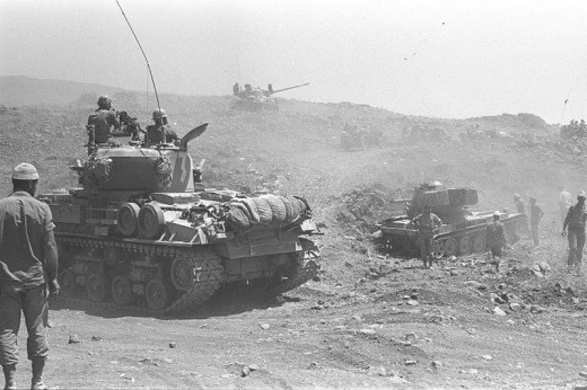 10 June 1967, Israeli tanks advancing on the Golan Heights
