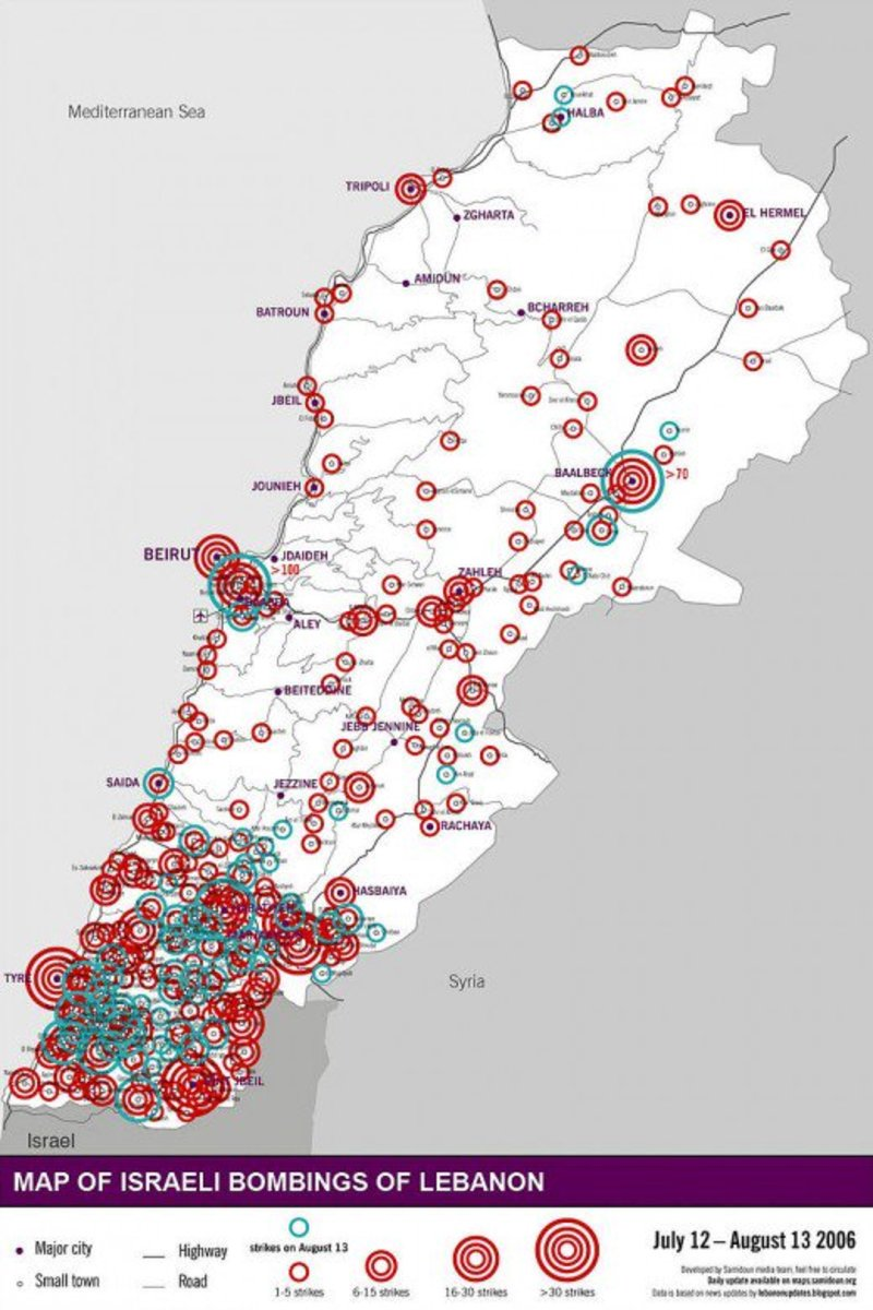 Locations bombed on August 13