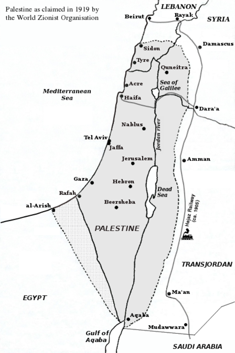 Palestine as claimed by the WZO in 1919