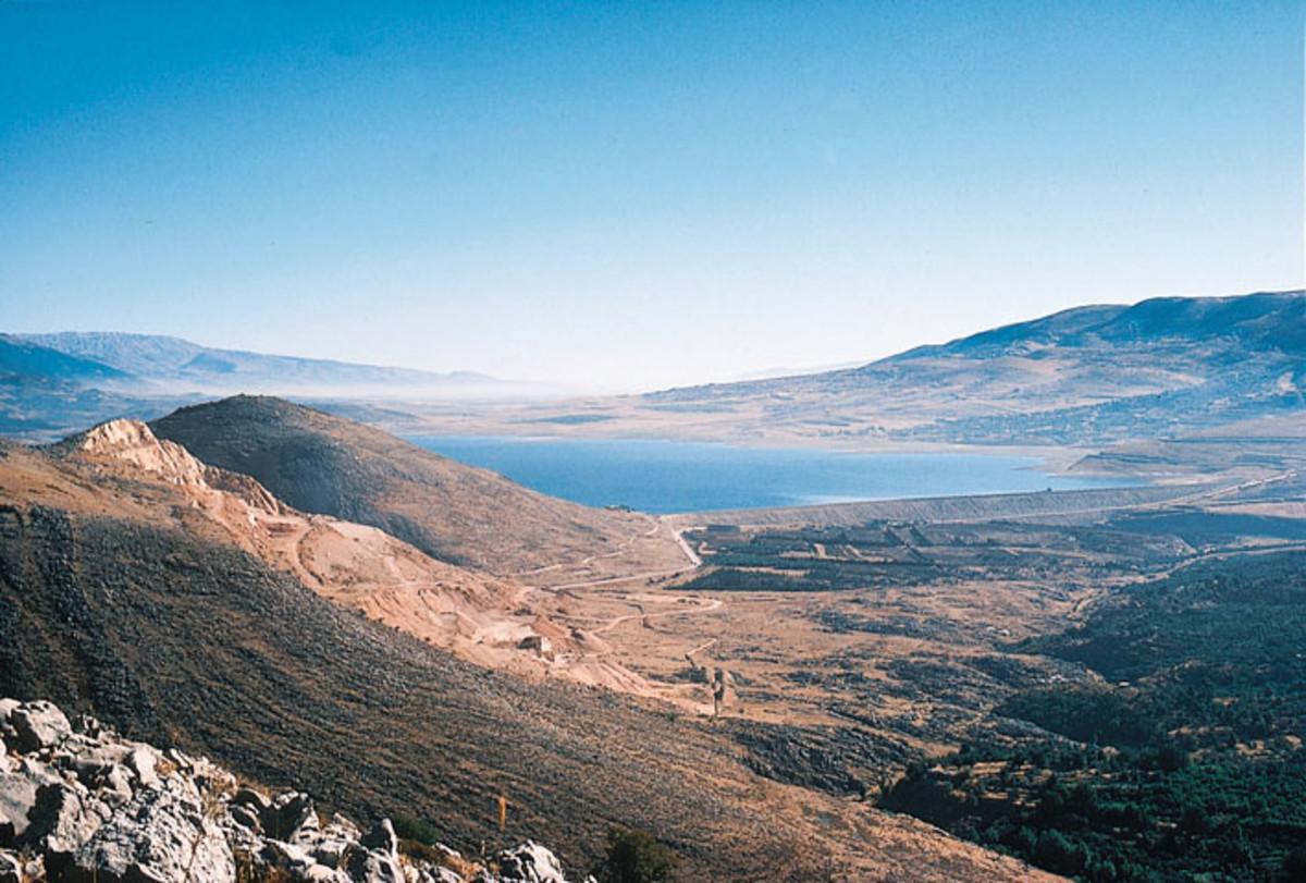 North View of Qaraoun Lake, or Litani Lake, in Bekaa, Lebanon, from the Machghara Hills