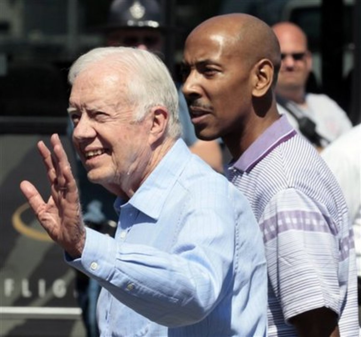 Jimmy Carter with Aijalon Gomes, back in America after being released from North Korea