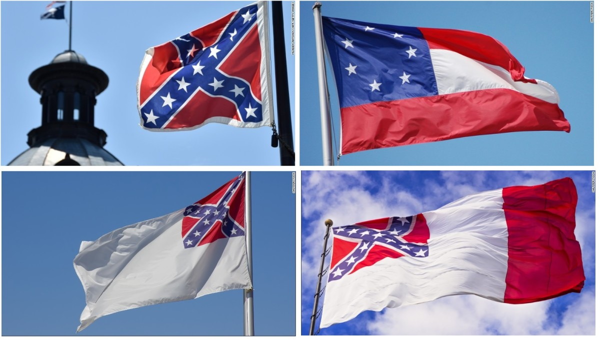 Clockwise from upper left; Battle flag of northern Virginia used by Gen. Rogert E. Lee, Original national flag of the Confederacy (1861-1863), second national flag of the Confederacy (1863-1865), and the third national flag of the Confederacy (1865)