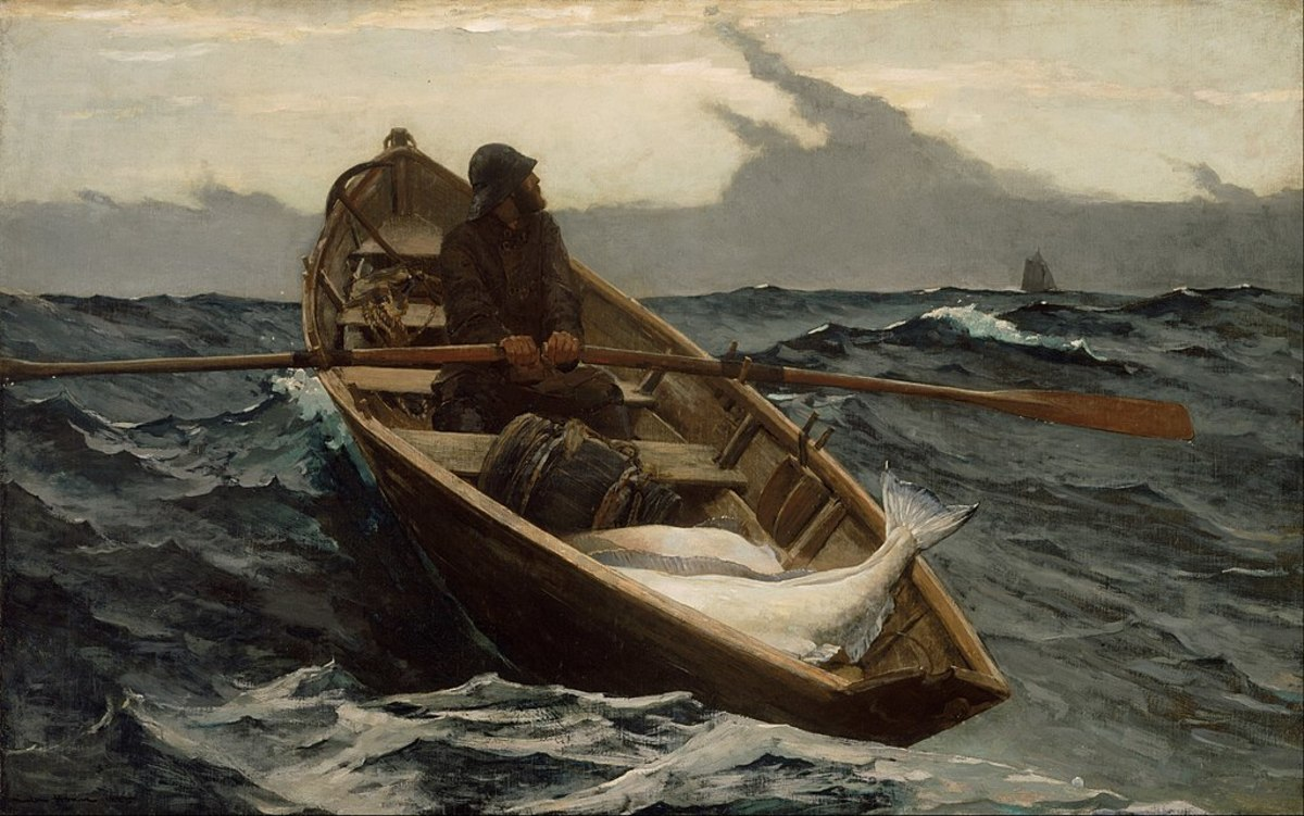 Halibut fishing from a dory in the 19th century; very hard work and extremely dangerous.