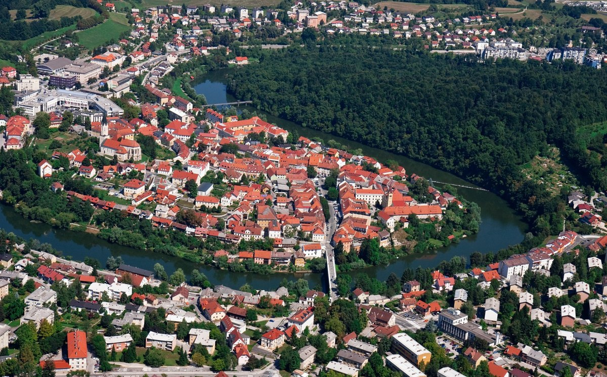 Novo Mesto, Slovenia on the Krka River.