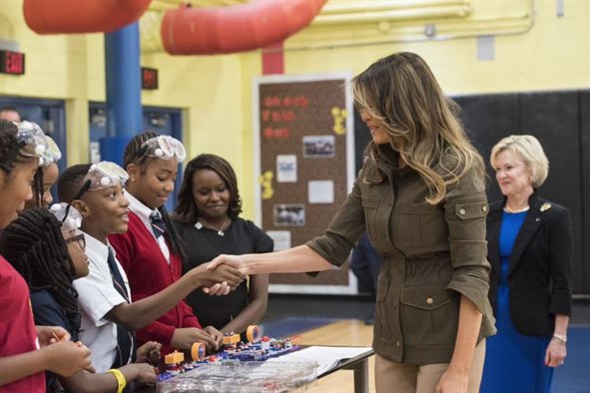 The First Lady meets the children at the youth center on Joint Base Andrews, Maryland, on September 15, 2017.