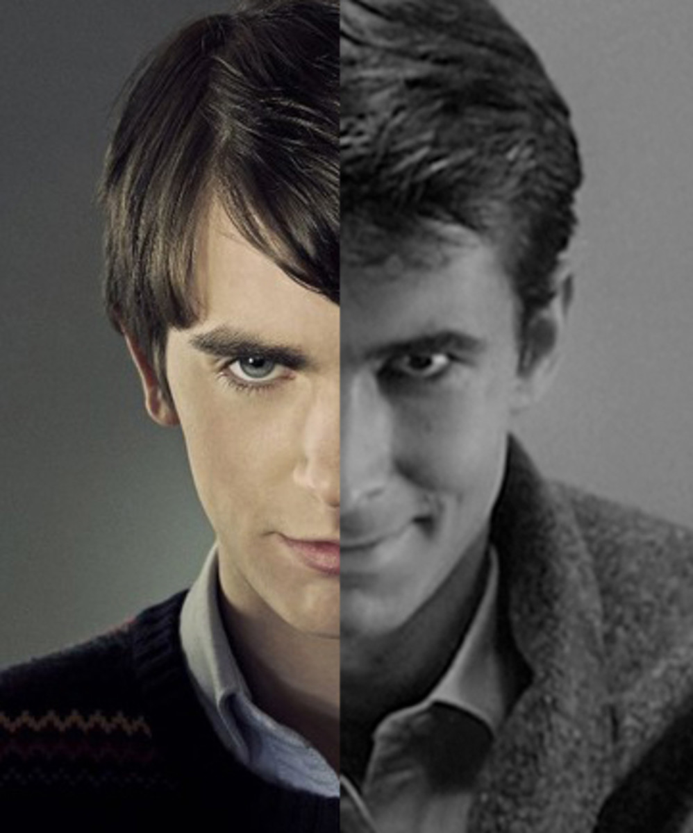 """Norman Bates from """"Bates Motel"""" (pictured left), Norman Bates from """"Psycho"""" (pictured right)"""