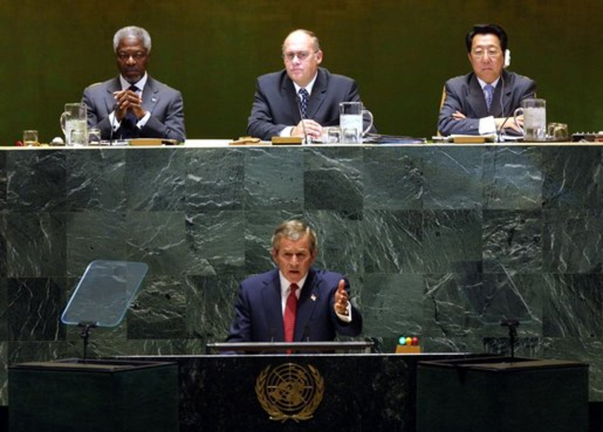 President George W. Bush addresses the United Nations General Assembly in New York City on the issues concerning Iraq Thursday, September 12 2002.
